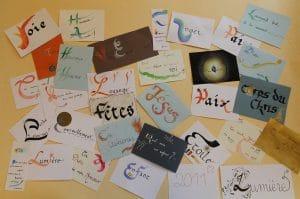cartes calligraphie